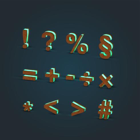 Jeu de caractères 3D, réaliste, verre et bois, vector