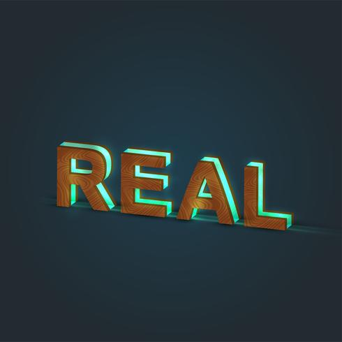 'REAL' - Realistic illustration of a word made by wood and glowing glass, vector