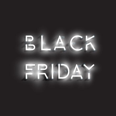 Sinal de néon realista 'BLACK FRIDAY', ilustração vetorial