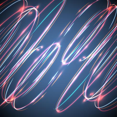 Círculos borrosos de neón en un fondo azul, ejemplo del vector.