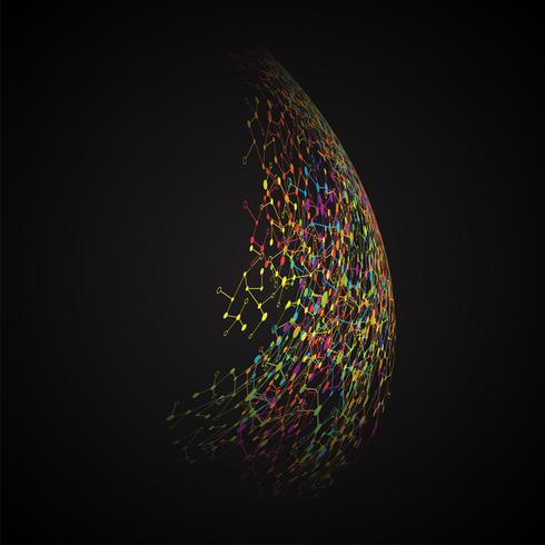 Abstract polygonal background with connected dots and lines, connection structure, futuristic hud, vector illustration