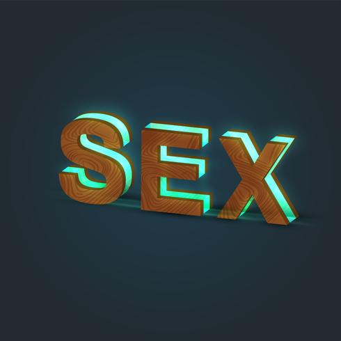 'SEX' - Realistic illustration of a word made by wood and glowing glass, vector