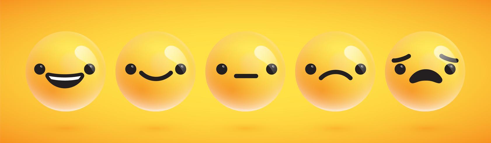 Fünf nette hoch-ausführliche Emoticons für Netz, Vektorillustration