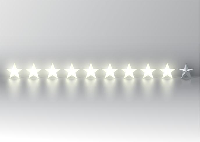 Nine-star rating with glowing 3D stars, vector illustration