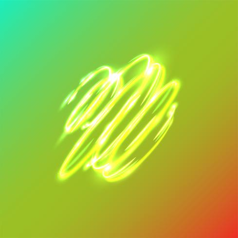 Cercles flous de néon sur fond bleu, illustration vectorielle.