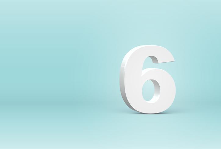 Alto número de fuente 3D detallado, ilustración vectorial