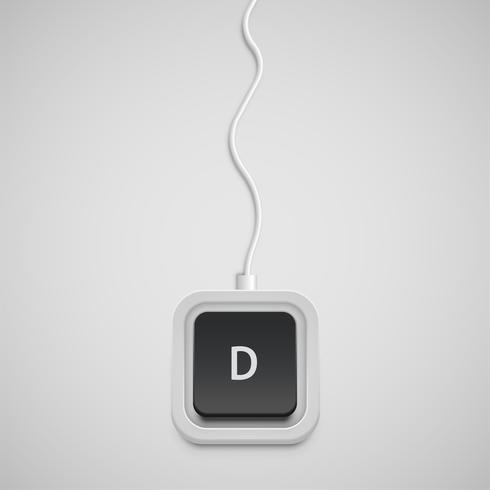 Vereenvoudigd toetsenbord met slechts één karakter, vector