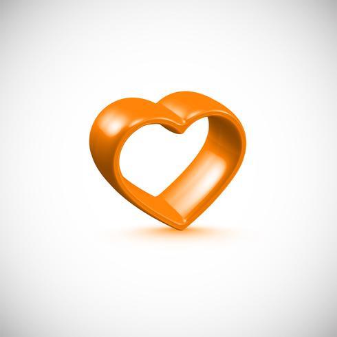 Marco de corazón naranja 3D, ilustración vectorial