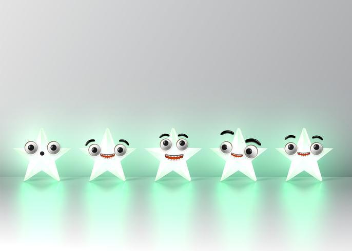 Étoiles de smiley détaillées hautes, illustration vectorielle