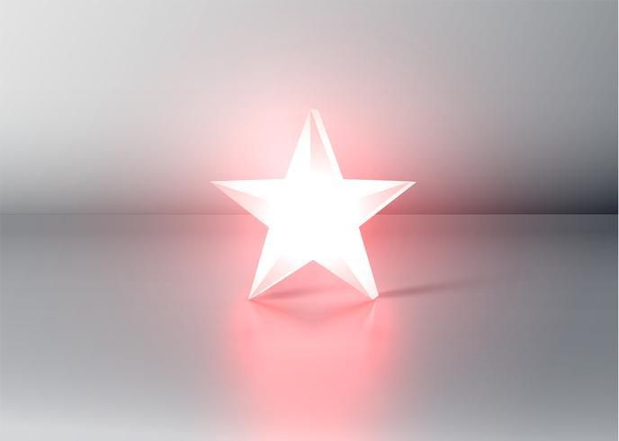 Glödande röd 3D-stjärnor, vektor illustration