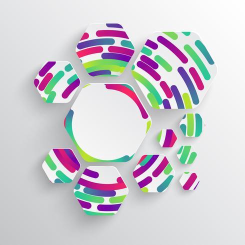 Avrundad form med skugga och färgstark cirkelbakgrund
