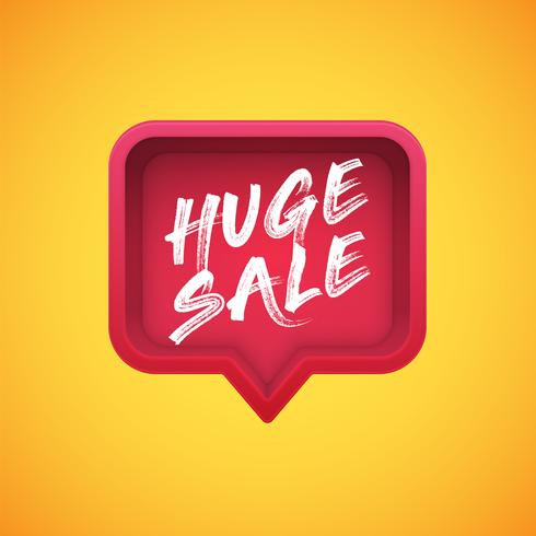 High-detailed red speech bubble with 'HUGE SALE' title, vector illustration