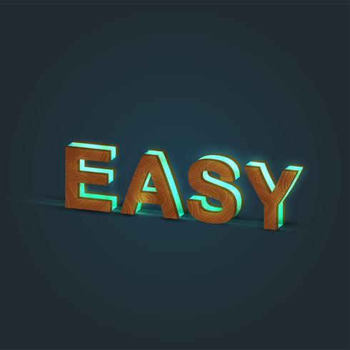 'EASY' - Realistisk illustration av ett ord av trä och glödande glas, vektor