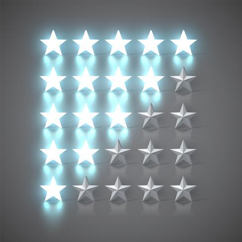 1 bis 5-Sterne-Bewertungssatz, Vektorillustration