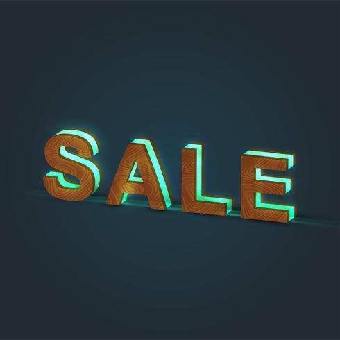'SALE' - Realistische Darstellung eines Wortes, gemacht durch Holz und glühendes Glas, Vektor