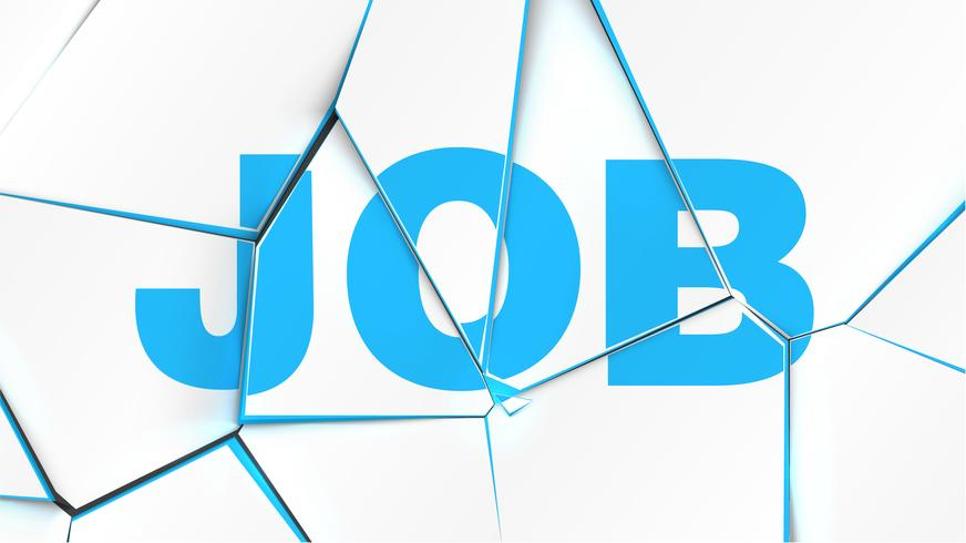 Word of 'JOB' on a broken white surface, vector illustration