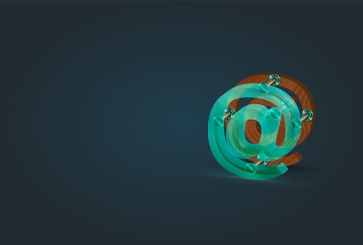 Hög detaljerad trä och glas email karaktär, vektor illustration