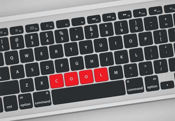 Buchstaben auf der Tastatur bilden ein Wort, Vektorillustration