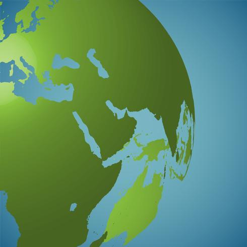 Globo del mundo sobre un fondo azul, ilustración vectorial