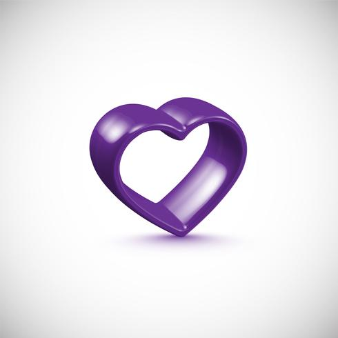 Purple 3D heart frame, vector illustration