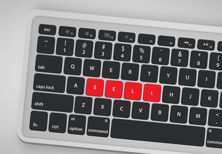 Le lettere sulla tastiera formano una parola, illustrazione di vettore