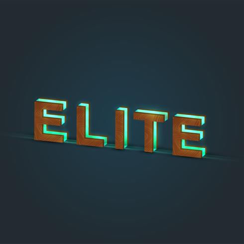 'ELITE' - Realistic illustration of a word made by wood and glowing glass, vector