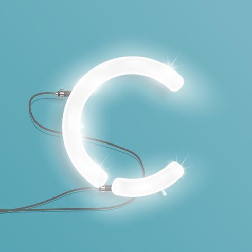 Realistischer Neoncharakter von einem Satz, Vektorillustration