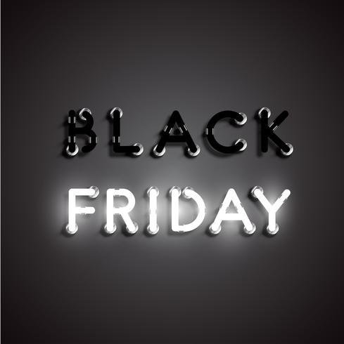 """Realistisk neon """"BLACK FRIDAY"""" tecken, vektor illustration"""