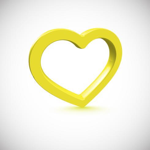 Gula 3D hjärta, vektor illustration
