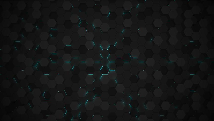 Blauer Technologiehintergrund des Hexagons 3D, Vektorillustration