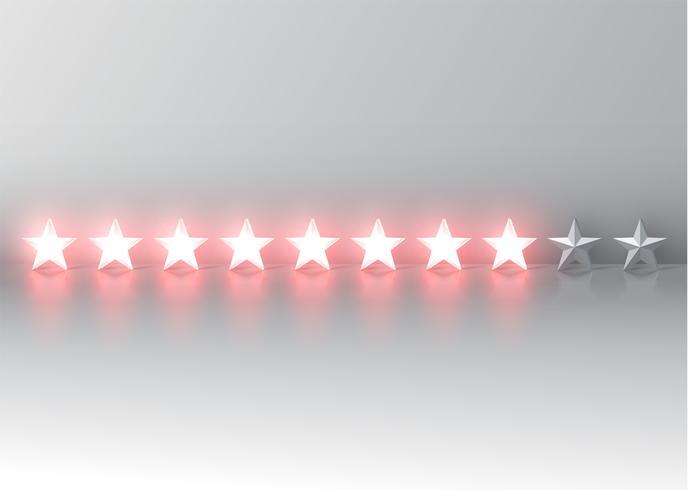 Clasificación de estrellas 3D roja brillante, ilustración vectorial