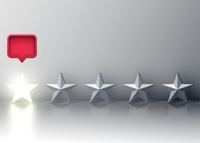 Calificación de cinco estrellas con una estrella brillante y un bocadillo rojo arriba, ilustración vectorial