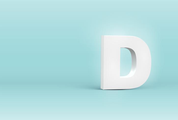 Lettre de police 3D détaillée haute, illustration vectorielle