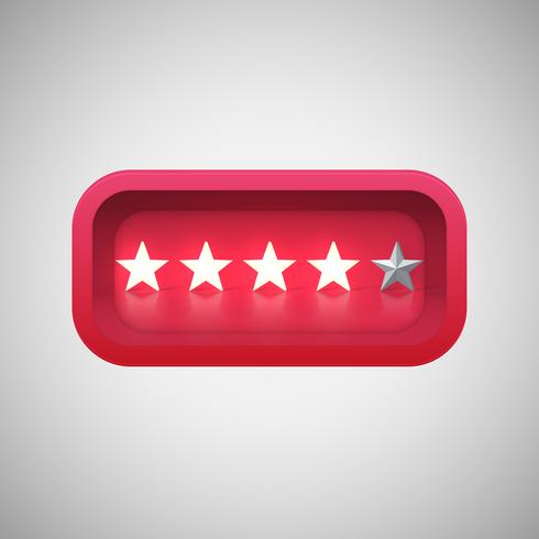 Glowing red star rating in a realistic shiny box, vector illustration