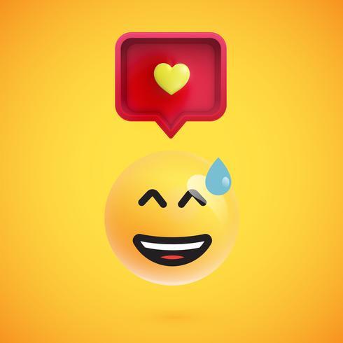 Emoticon 3D engraçado com bolha do discurso 3D e um coração, ilustração vetorial