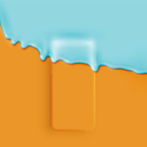Smartphone mat 3D détaillé et recouvert de peinture