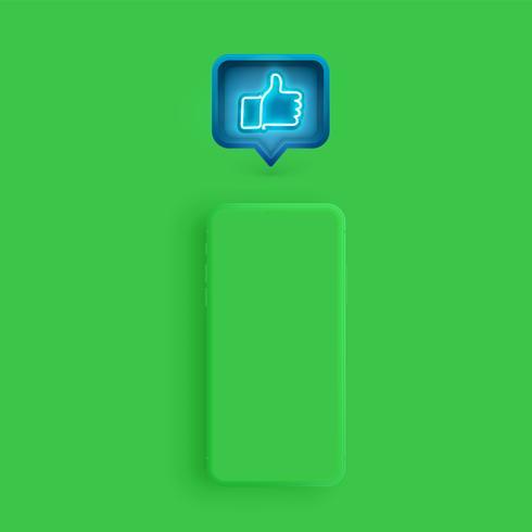 Il modello opaco dello smartphone con un fumetto e un neon gradiscono dentro, illustrazione di vettore
