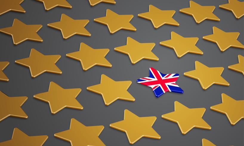Illustratie met sterren voor BREXIT - Groot-Brittannië verlaat de EU, vector