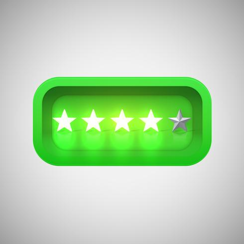 Glowing green star rating in a realistic shiny box, vector illustration