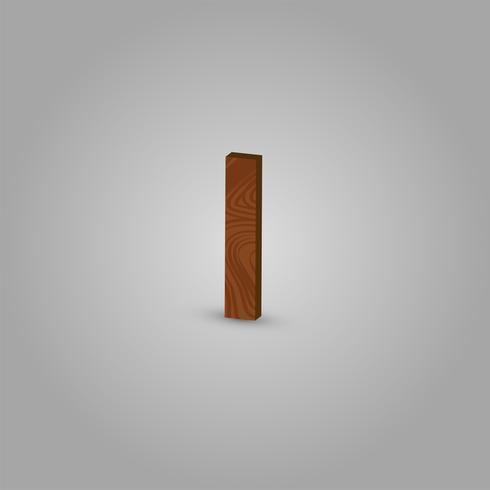 Caráter de madeira realista de um typeset, ilustração vetorial