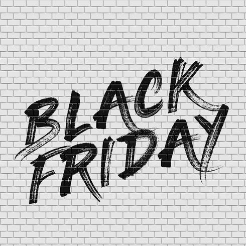 High detailed brick wall with 'BLACK FRIDAY' painting vector illustration
