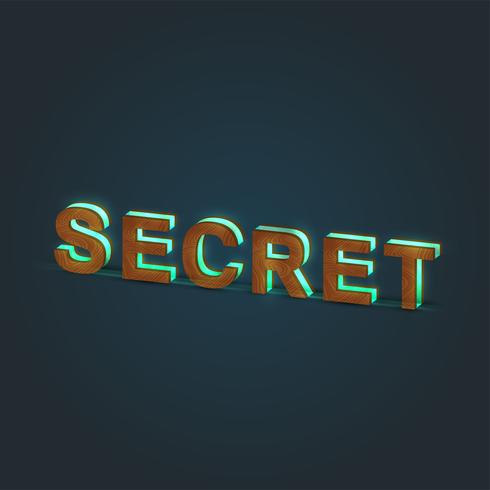 'SECRET' - Realistic illustration of a word made by wood and glowing glass, vector
