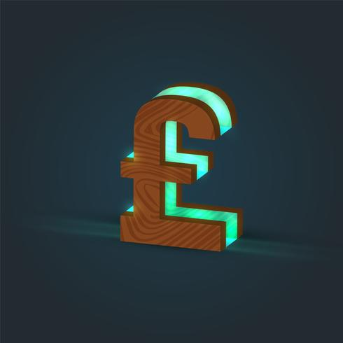 3D, realistic, glass and wood character from a typeface, vector