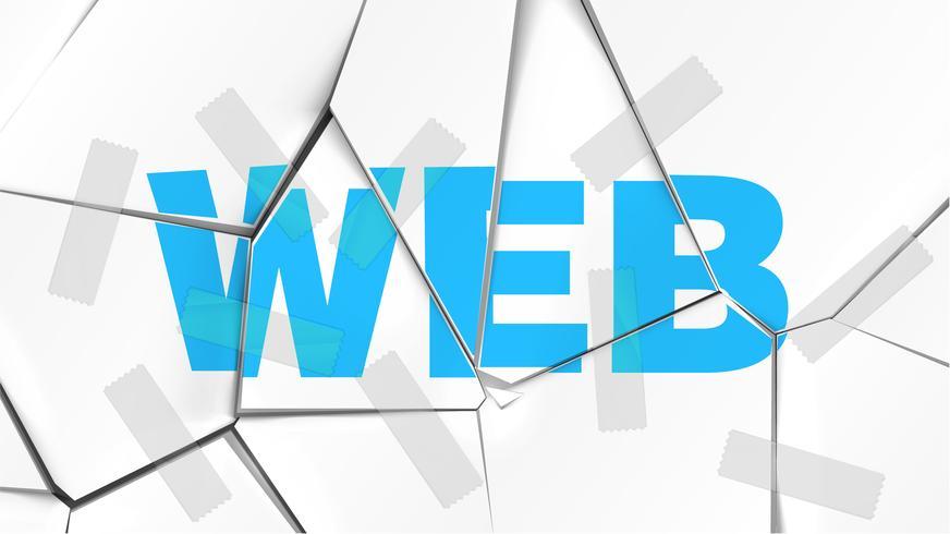 Mot de 'WEB' sur une surface blanche brisée, illustration vectorielle