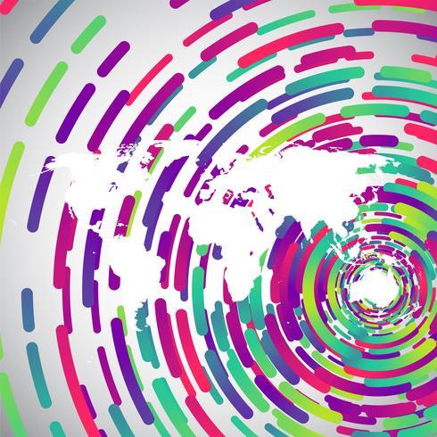 Mapa del mundo abstracto con círculos de colores para publicidad, vector