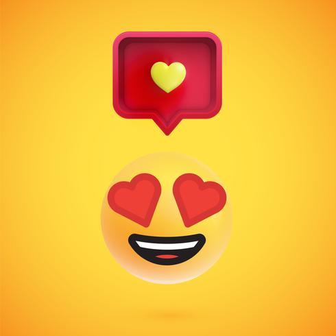 Emoticon divertido en 3D con bocadillo de diálogo en 3D y un corazón, ilustración vectorial