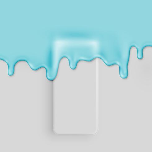 Hög detaljerad 3D matt smatphone täckt med färg, vektor illustration