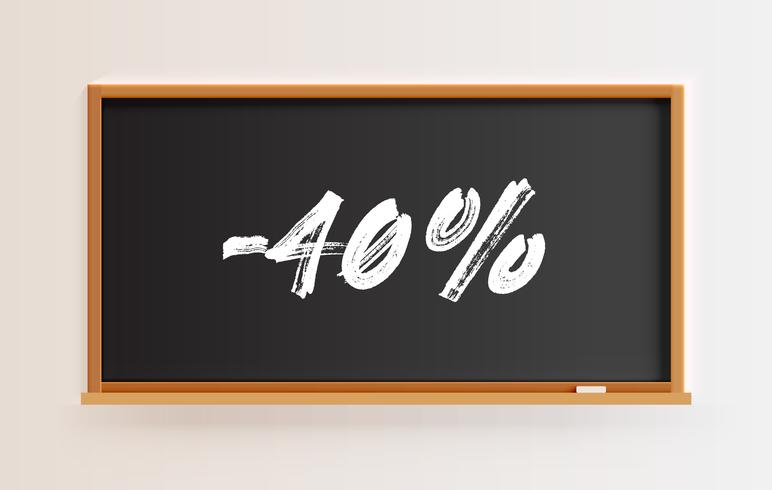 High detailed blackboard with '-40%' title, vector illustration