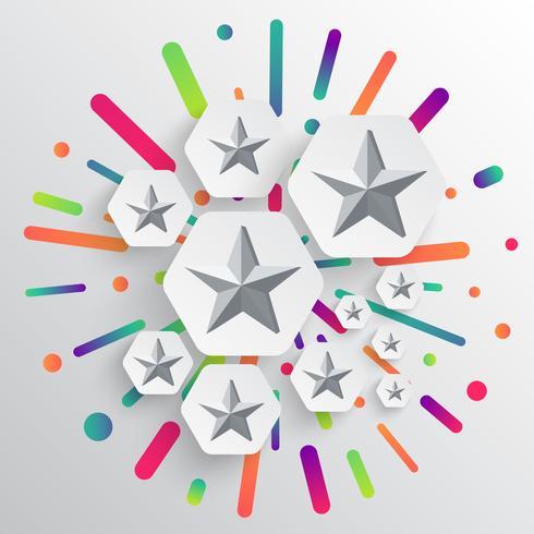 Modello colorato e bianco con stelle, illustrazione vettoriale