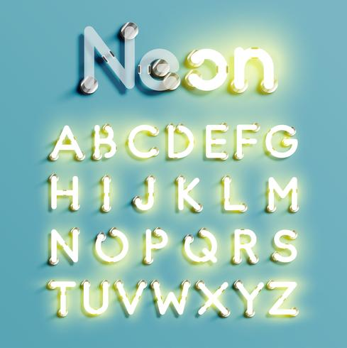 Realistic neon character set, vector illustration - Download Free